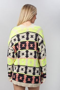 Great cardi for taking the neon trend through fall and winter