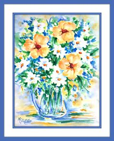 Watercolor Daisy Bouquet by Martha Kisling Watercolor Paper, Watercolor Flowers, Watercolor Paintings, Painting Frames, Painting & Drawing, Yellow Flowers, Flower Decorations, Garden Art, Watercolors