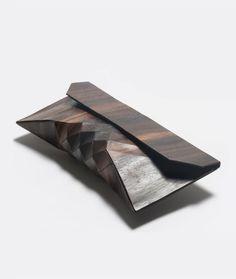 By NJAL DESIGNERTesler+ Mendelovitch.EBONY WOOD CLUTCH made out of 100% ebony wood.  I want this.