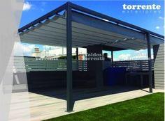 Pergola aluminio con toldo corredero de ondas AL2 by Toldos Torrente