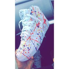 Custom Splatter Nike Air force 1 Mid Top Trainers ❤ liked on Polyvore featuring shoes, sneakers, nike shoes, nike footwear, nike, nike sneakers and nike trainers