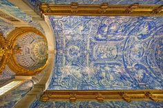 22045 - ID: 12905755 © Jim Zuckerman Religious Architecture, Architecture Design, Inside Castles, Portugal, Glazed Tiles, Pavement, Palaces, Ceilings, Places Ive Been