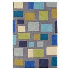 Blocks Lapis Wool Designer Rug by Scion