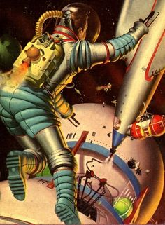 Art by Robert Schulz, 1959. Space Tug by Murray Leinster © 1953, this edition 1954, Pocket Books 1954 mass market paperback, science fiction – 2nd Joe Kenmore novel. https://brokenbullhorn.wordpress.com/2013/04/18/ffb-space-tug-by-murray-leinster/