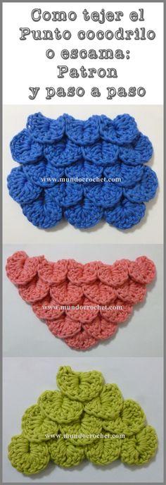 Como tejer el punto cocodrilo o escama a crochet o ganchillo patron o diagrama y paso a paso
