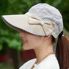 Wide brim sun hats for women with bow UV riding hat
