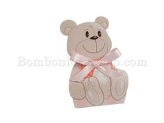 Pink bear favour box filled with confetti - sweets. Cheap and cute idea for party favours for a baby girl, baptism, christening, baby shower. http://www.bombonierashop.com/en/department/5/Birth-and-Baptisms.html