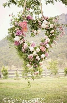 Hanging floral heart wreath for a classic country wedding Wedding Ceremony, Our Wedding, Dream Wedding, Wedding Ideas, Ceremony Backdrop, Spring Wedding, Wedding Inspiration, Backdrop Wedding, Outdoor Ceremony