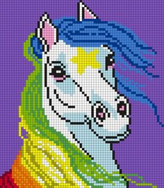 Starlite From Rainbow Brite (Quadrat) von Maninthebook on Kandi Patterns - Kreuzstich Pony Bead Patterns, Kandi Patterns, Perler Patterns, Beading Patterns, Crochet Pixel, Graph Crochet, Cross Stitching, Cross Stitch Embroidery, Cross Stitch Patterns