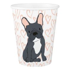 Black French Bulldog Drawing Paper Cup - black gifts unique cool diy customize personalize