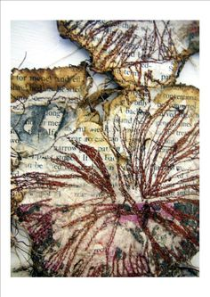 Artist: kirsty whitlock Momogami, ink and free hand embroidery Art Fibres Textiles, Textile Fiber Art, Textile Artists, Free Motion Embroidery, Free Machine Embroidery, Embroidery Art, Textiles Sketchbook, Art Sketchbook, Textiles Techniques