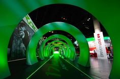 TaylorMade/Adidas Golf Company's exhibit got a futuristic vibe in Orlando in 2012: At one entrance, attendees walked down a 51-foot glowing green tunnel, intended to symbolize the distance golfers gain when they use TaylorMade's new RocketBallz line of equipment. Photo: Jeff Samaripa