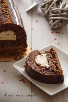 Bûche chocolat/vanille croustillant praliné - Le blog de novice en cuisine