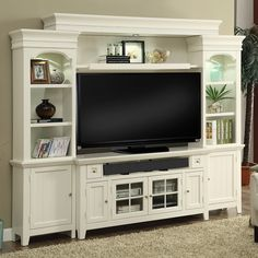 """Share and Save $5 Off Any Order Over $99. (excludes a few products) Parker House Tidewater 4 Piece 62"""" Entertainment Wall in Vintage White #dynamichome"""