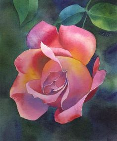 """CHERRY DROP ROSE floral watercolor painting"" - Original Fine Art for Sale - © Barbara Fox"