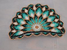 Native American Beadwork Hair Barrette Signed By Nancy Presctt Ho-Chunk Nation Native American Beadwork Hair Barrette Signed By by Roseshowers Indian Beadwork, Native Beadwork, Native American Beadwork, Native Beading Patterns, Beadwork Designs, Beaded Brooch, Beaded Jewelry, Lesage, Hair Beads