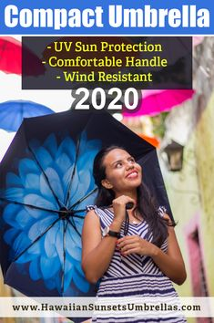 $25.99 A compact umbrella for travel that shelters you from the sun and the rain while looking great for pictures! A windproof umbrella and paraguas para lluvia for any weather.  This sun umbrella will help you keep cool when it is sunny and hot outside! Protect your skin with the UPF50 protection with our UV Umbrella. Get your Hawaiian Sunsets Umbrellas at the link below or directly from Amazon! #sunumbrella #spfprotection #umbrellart #umbrellaphotography #compactumbrella #travelumbrella Uv Umbrella, Small Umbrella, Best Umbrella, Compact Umbrella, Black Umbrella, Travel Umbrella, Folding Umbrella, Wind Resistant Umbrella, Rain