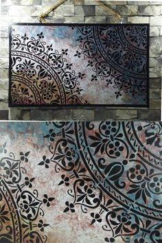 Nill World I Wood I Tableros - wood - Stencil Decor, Stencil Painting, Painting On Wood, Grey Wood Furniture, Hand Painted Furniture, Ikea Furniture, Pallet Furniture, Decoupage Box, Decoupage Vintage