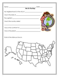 Me on the Map - book and quiz (FREEBIE) (FREEBIE) Me on the Map activity book and quiz. The last two pages can be a quiz to check if they learned the information from the books they make. I turned the first 10 pages to a mini-book on our copier. Preschool Social Studies, 3rd Grade Social Studies, Map Worksheets, Kindergarten Worksheets, Geography Worksheets, Map Activities, Classroom Activities, Classroom Organization, First Grade Science