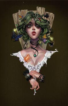 a frog and a girl digital painting by Lera Nyukalova, via Behance #wow