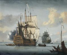 L de Man (fl. c. 1725) The flagship Royal Sovereign saluting at the Nore