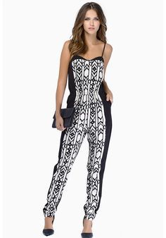 Jumpsuits geométrico correa de espagueti-blanco y negro 16.22