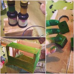 Food coloring rats wooden toys and house, diy chewtoys