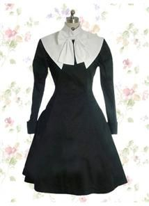 Black And White Cotton Stand Collar Long Sleeve Knee-length Gothic Lolita Dress With Bowknot