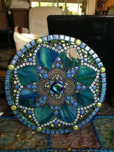 RESERVED-Beautiful mosaic mandala made with soothing colors and interesting pieces of glass, metal,millefiori, beads and crystals. Mosaic Crafts, Mosaic Projects, Mosaic Art, Mosaic Glass, Mosaic Tiles, Fused Glass, Stained Glass, Mosaics, Mosaic Madness