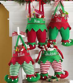 Elf Stocking - Elf pants - Embroidered Christmas Stocking - Stockings - Elf Stockings - Elf Pant Stockings - name christmas