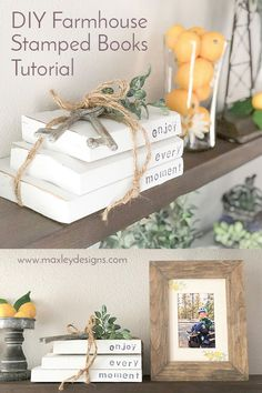 You've Seen Those Adorable, Farmhouse Stacked Books On Shelves, Mantels, Tiered Trays. With The Cute Stamped Sayings. Well Guess What? You Can Diy Them For Under And It's Super Fast and Easy Let Me Show You How Farmhouse Books, Farmhouse Decor, Country Farmhouse, Rustic Books, Wood Book, Painted Books, Stack Of Books, Do It Yourself Home, Clever Diy