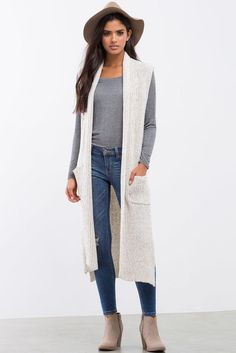 Fall 2016 style must-have long sweater vest agaci store Sweater Vest Outfit, Long Sweater Vest, Vest Outfits, Long Sweaters, Fall Outfits, Cute Outfits, Long Vests, Crochet Fashion, Winter Fashion