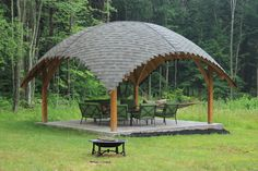 Tamas Fodor is raising funds for Garden Arc for a beautiful backyard, gazebo and pergola on Kickstarter! GardenArc is a mixture of European and North American Organic Architecture, using the most sustainable building material: Wood Wooden Pavilion, Gazebo, Pergola, Sustainable Building Materials, Organic Architecture, Inside Outside, Garden Paths, Sustainability, Backyard