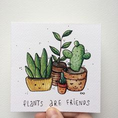 """Plants are friends"" __ another creative idea for a simple journal page that you can create quite fast with a pretty awesome result (as you can see here) #howtodrawsucculents"