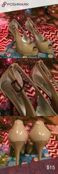 High Heel Shoes Beige high heel platform shoes worn once. Worthington Shoes Heels