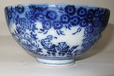 Chinese 100 children playing type rice bowl,unmarked and done in flow blue transfer which would date it to the most likely. Flow Blue China, Blue And White China, Love Blue, Blue Dishes, Antique Dishes, Bowl Designs, White Stuff, Classy Casual, Rice Bowls