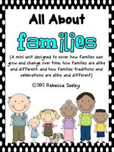 Grade Heritage and Identity - This mini unit covers: -How families change over time -How families are alike and different -The differences between traditions and celebrations in families Kindergarten Social Studies, Kindergarten Themes, Teaching Social Studies, Classroom Themes, Kindergarten Family Unit, Preschool Family Theme, Preschool Activities, Book Activities, Teaching Sight Words