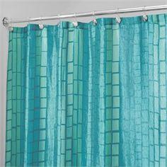 3dbc0ffe76d Moxi Graphic Aquamarine Fabric Shower Curtain by Interdesign Aquamarine Blue