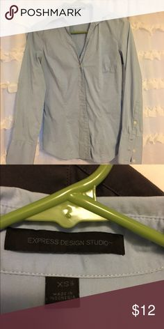 Blue Express button down Great condition, slightly wrinkled in pic. Nice blue color sz xs Express Tops Button Down Shirts