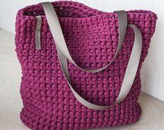 Jeden Tag Tote Bag / Umhängetasche häkeln / jeden Tag Frau Tasche / Shopper Tasche / Tote Bag / täglichen Tasche Tote / Crimson Tote / häkeln Tote recycelt