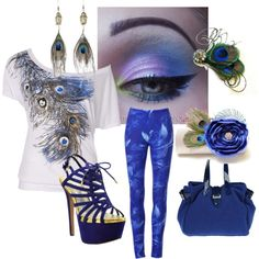 """Peacock Blues..."" by sweetlikecandycane on Polyvore"