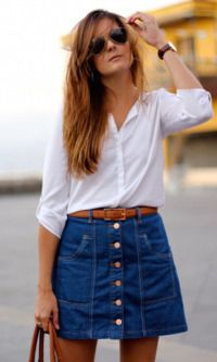 Look: Camisa + Saia Jeans