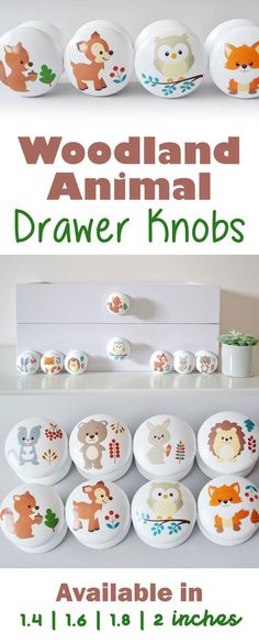 How adorable are these woodland animal drawer knobs! Really cute little handles! Perfect for the wardrobes in the nursery. Can't wait to put these in my son's nursery! Whimsical Nursery, Forest Nursery, Rustic Nursery, Woodland Nursery, Nursery Wall Art, Nursery Decor, Themed Nursery, Nursery Ideas, Forest Animals