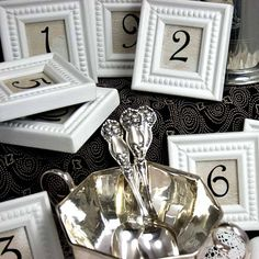 cute idea for table numbers, but you can get them at the target $1 bins