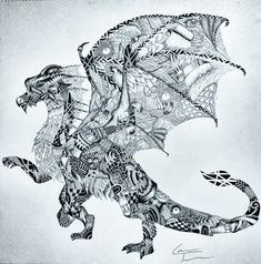 Dragon A3 Zentangle - great easy shop: TelferZentangle