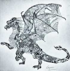 Dragon A3 Zentangle van TelferZentangle op Etsy, £60.00
