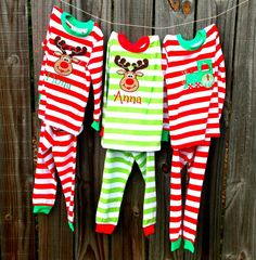 Christmas Pajamas. Appliqued or Embroidered Xmas pjs for babies ...