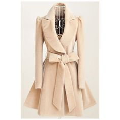 2016 Winter New Fashion Notched Lapel Coat with Bow Tie Belt ($33) ❤ liked on Polyvore featuring outerwear, coats and beige coat