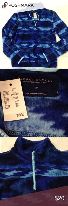 NWT Aeropostale pullover half zip fleece Brand new with tags. Beautiful shades of blue. Super soft and comfy size small! Aeropostale Sweaters