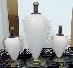 Murano lamp set of three genuine Italian Venice glass gold infusion 1960s